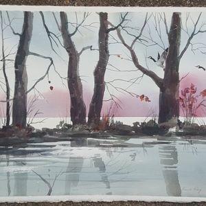 Trees and water original watercolor